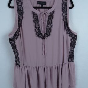 Lane Bryant Pink Lace Sleeveless Tunic Top 18
